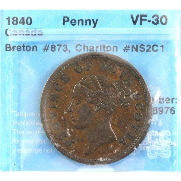 1840 Nova Scotia Penny Token CH# NS2C1 BR# 873 CCCS Certified VF-30.