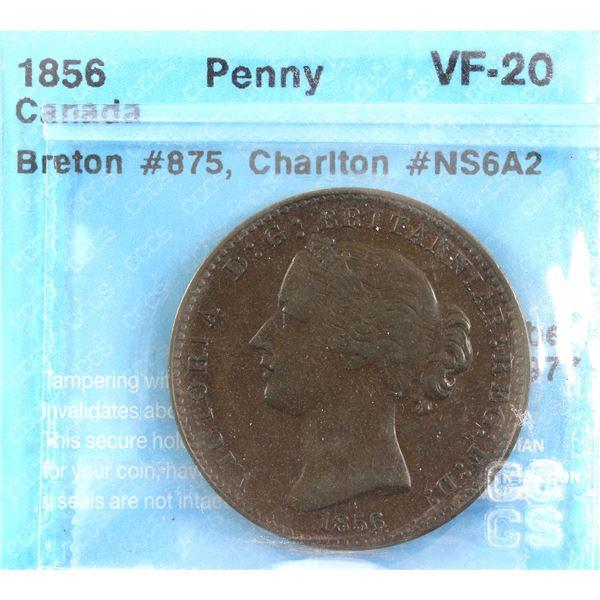 1856 Nova Scotia Penny Token CH# NS6A2 BR# 875 CCCS Certified VF-20.