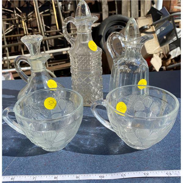 Vinegar Cruets + 2 Glass Cups