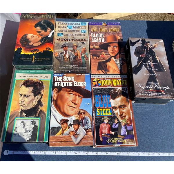 """(8)VHS Movies """"Gone With The Wild"""" + """"The Song Of Katie Elder"""" + ETC"""