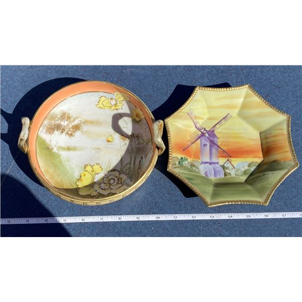 """(2) Nippon Dishes (7"""" Across x2)"""