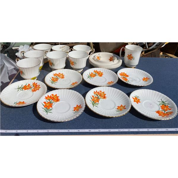 Lot Of Sask Tiger Lilly Pattern Dishes (7 Plates, 8 Cups, 1 Ashtray)