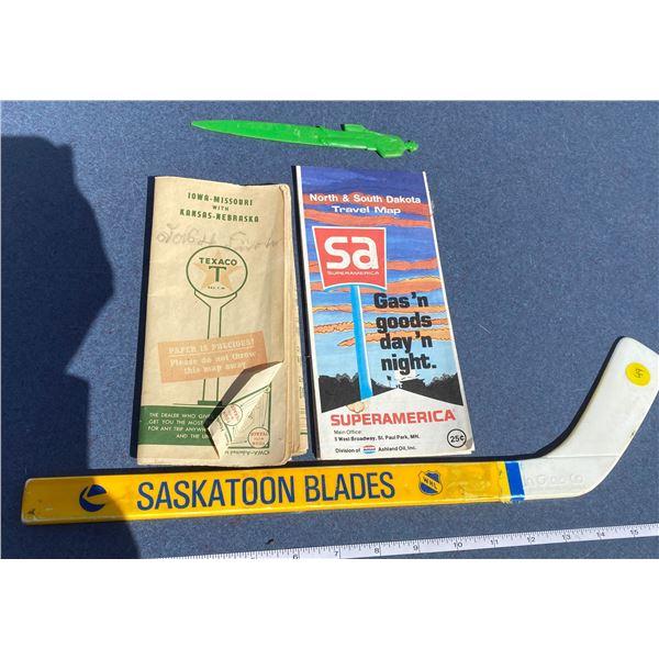 Texaco Iowa-Missouri With Kansas-Nebraska Map + Sask Blades Hockey Stick + Bush Letter Opener + Supe