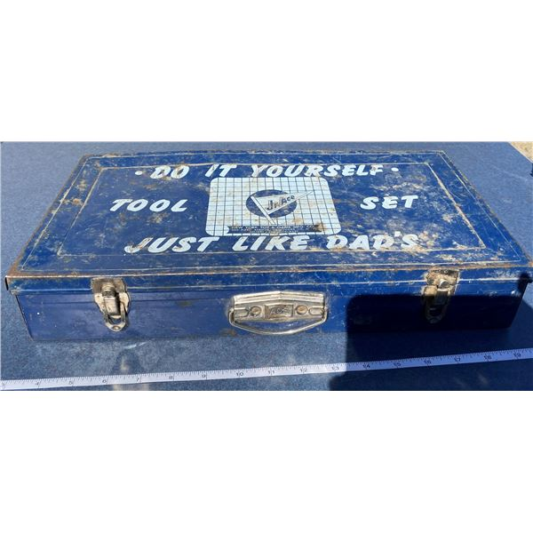 Tin Tool Box With Content Inside