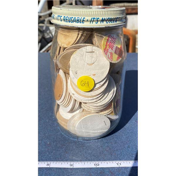 Vintage Jar w/ Milk Bottle Caps