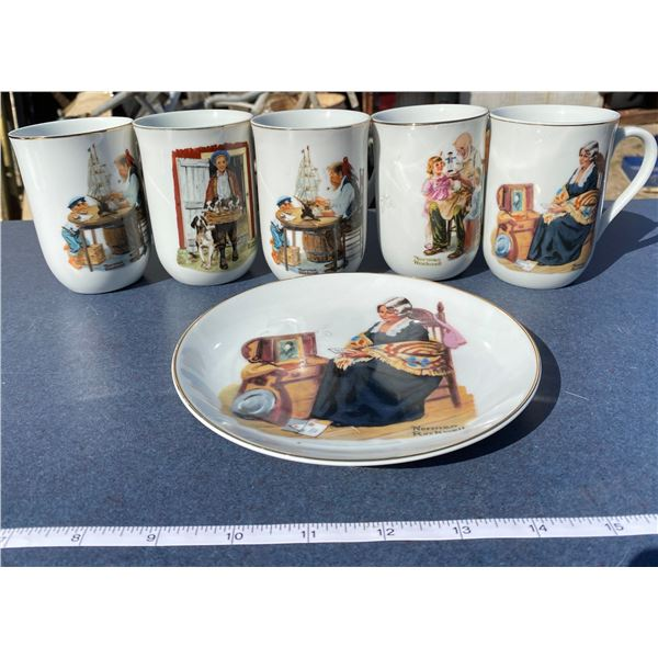 6 Norman Rockwell Pieces (5 Cups + 1 Plate)