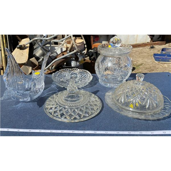 Lot Of Glass Ware Butter Dish + Candy Dish + Etc