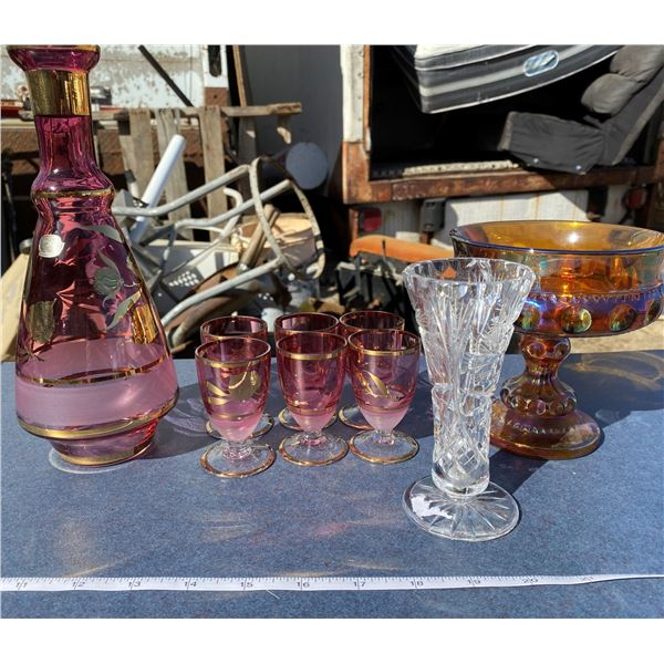 Lot Of Decanter + Carnival Dish +6 Small Cups + Etc