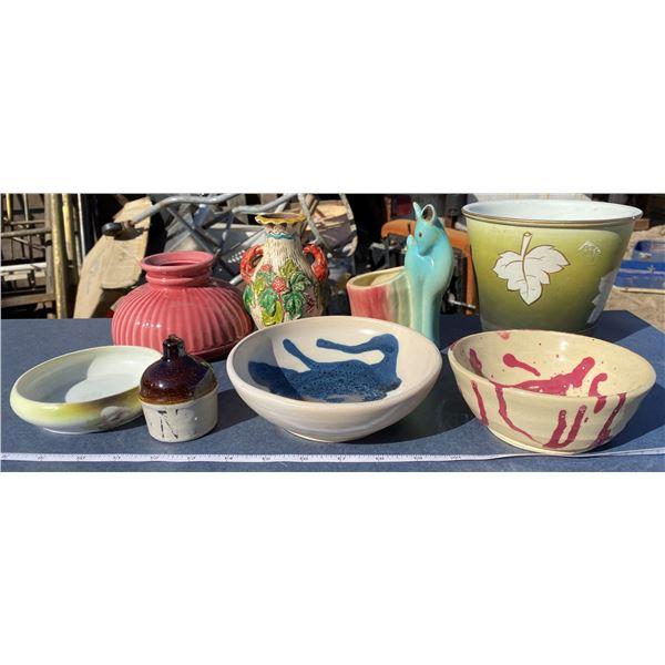 Lot Of Vases + Bowls + Planter