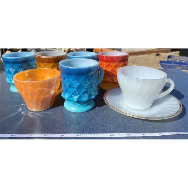 7 Fire king Coffee Mugs + Plate