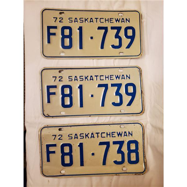 3 (ONE PAIR) 1972 SASKATCHEWAN LICENSE PLATES