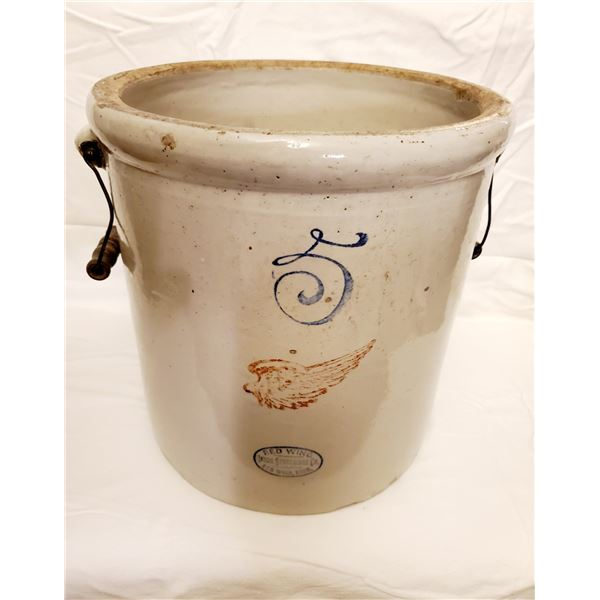 5 GALLON RED WING CROCK