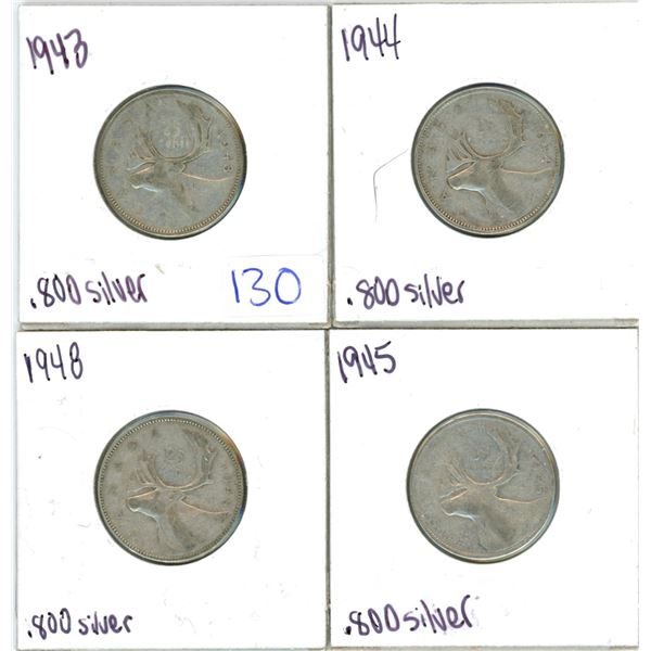 Lot of 4 .800 silver quarters 25¢ coins
