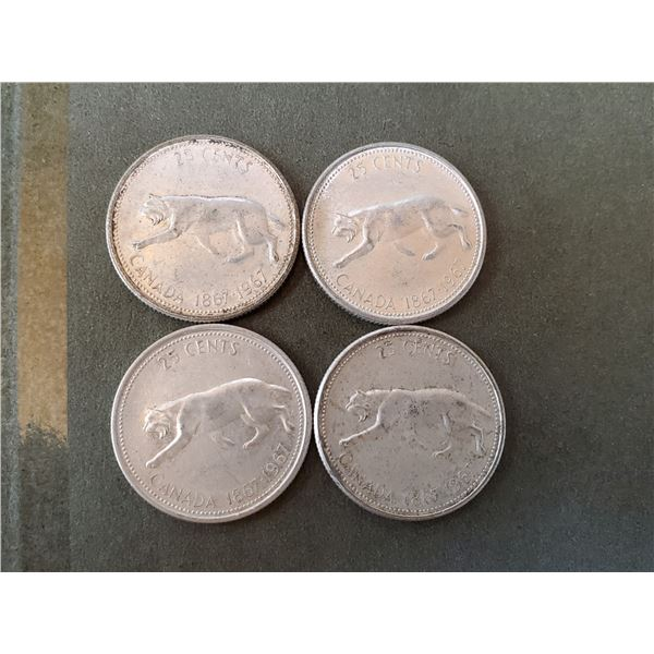 Lot of 4 1967 silver quarters