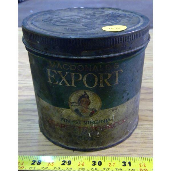 Vintage Export Tobacco Tin