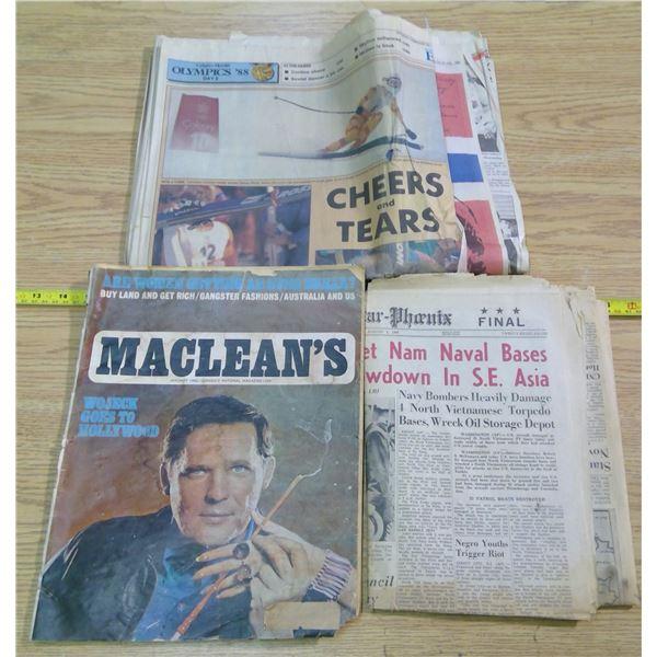 Old Paper Lot - 1968 McLean's, '88 Calgary Herald (Olympics), & 1964 Star Phoenix (Vietnam)