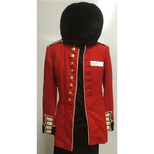 Canadian Military Parade Dress Tunic and Fur Hat, Med
