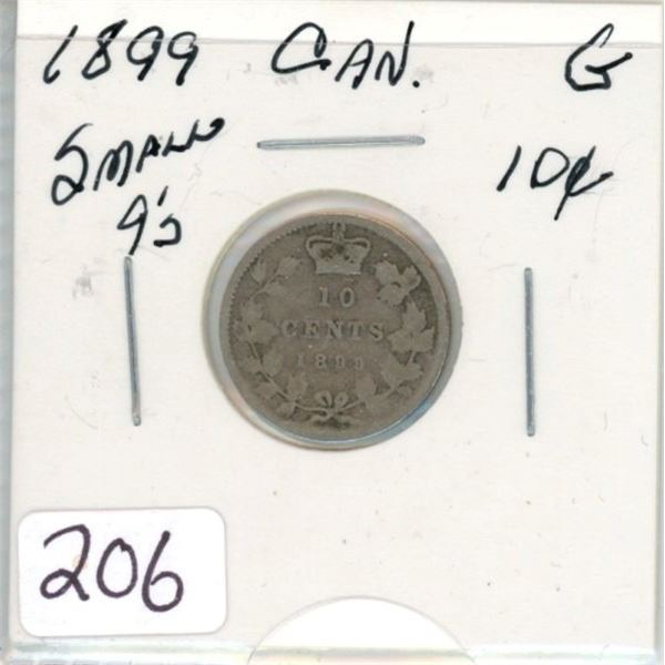 1899 small 9's Canadian silver ten cent coin