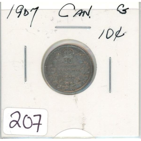 1907 Canadian silver ten cent coin