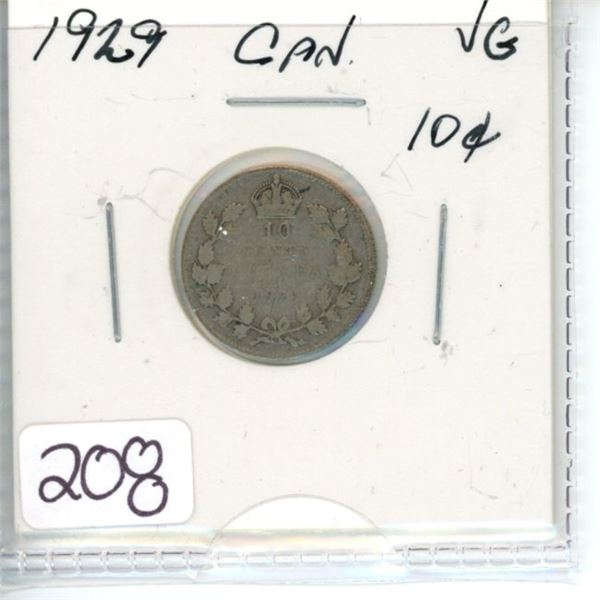 1929 Canadian silver ten cent coin
