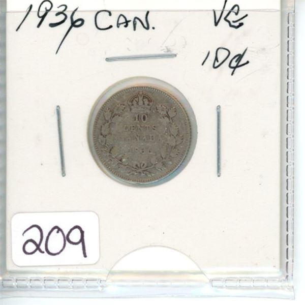 1936 Canadian silver ten cent coin