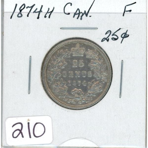 1894H Canadian silver twenty-five 25¢ cent coin