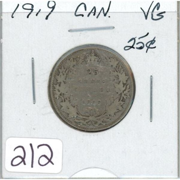 1919 Canadian silver twenty-five cent coin