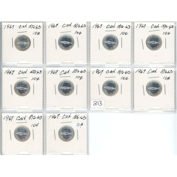 1967 Canadian silver dimes, graded as MS-63