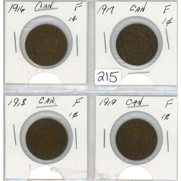 1916-17-18-19 Canadian large cents graded fine