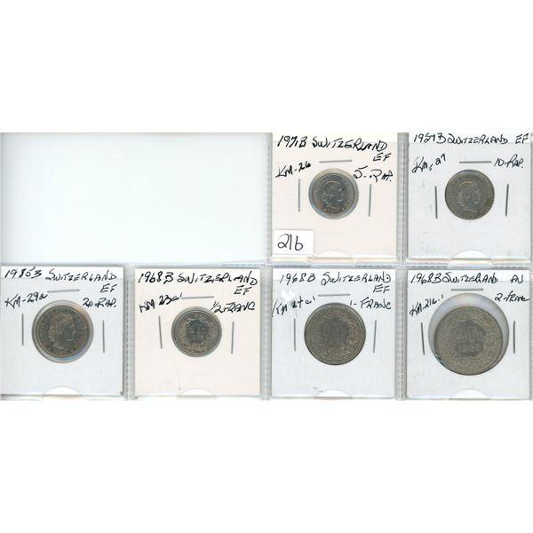Eight coins from Switzlerland - various dates & denominations