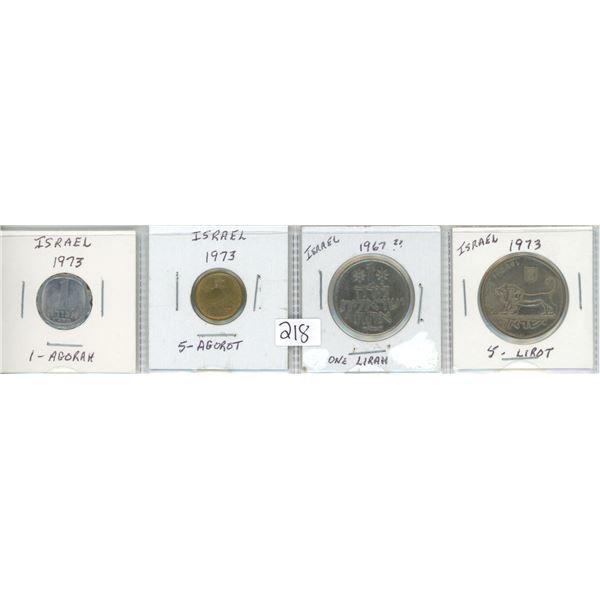 Coins from Isreal - 1 Agorah, 5 Agarot, One Lirah, 5 Lirot