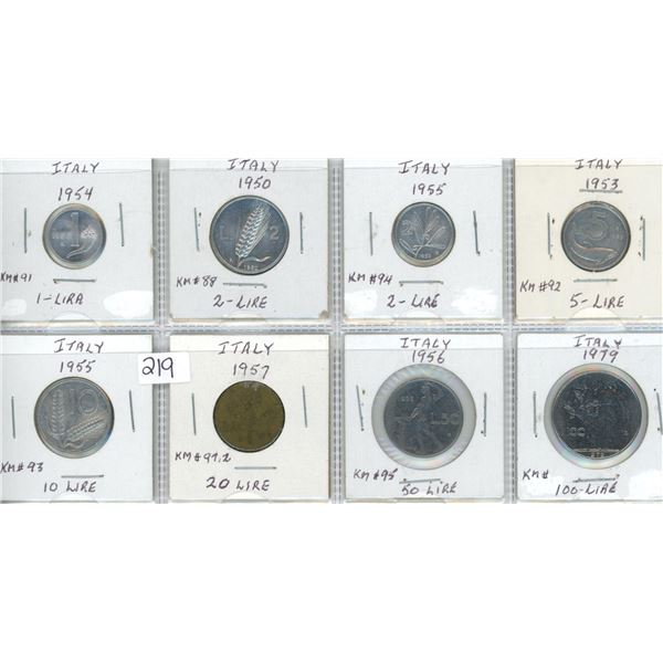 Eight coins from Italy - various dates & denominations