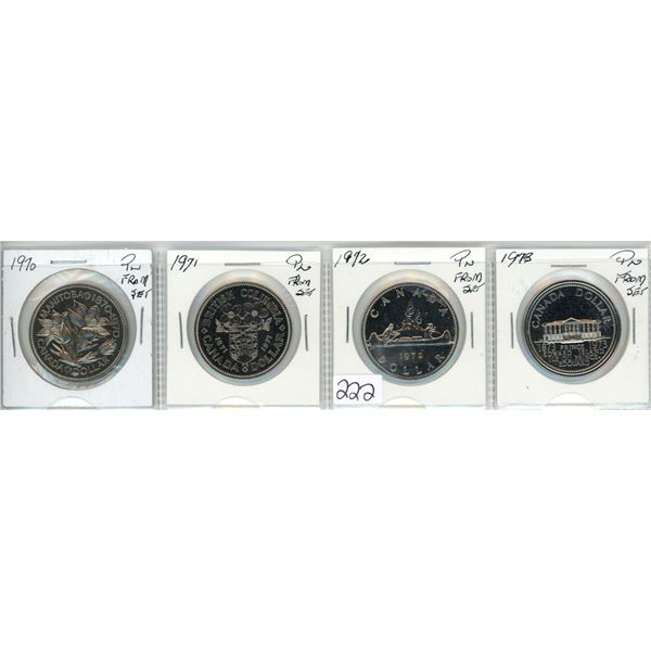 Four nickel dollars, 1970-1973 - all from PL sets
