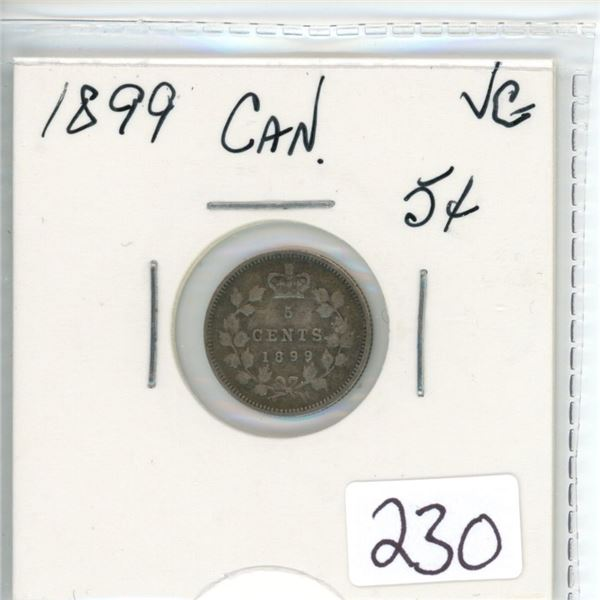 1899 Canadian five cent coin - VG-8