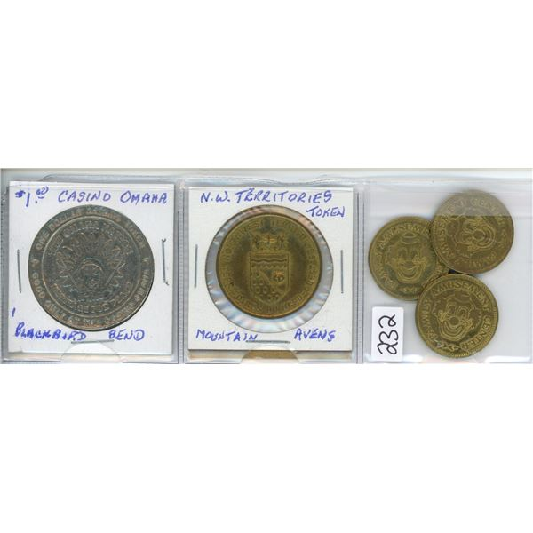 One dollar Omaha (Blackbird bend), N.W. Terretories & 3 Dolly's fun house tokens