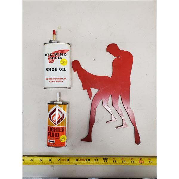 RED WING SHOE OIL & GULF LIGHTER FLUID OILERS & UNIQUE ART PIECE