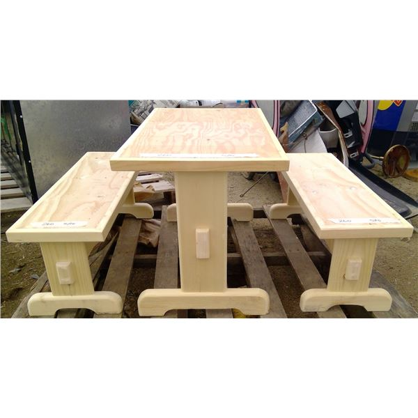 Children's Table (31.5x17.5x19.5) with 2 Benches (31.5x10x11.75)