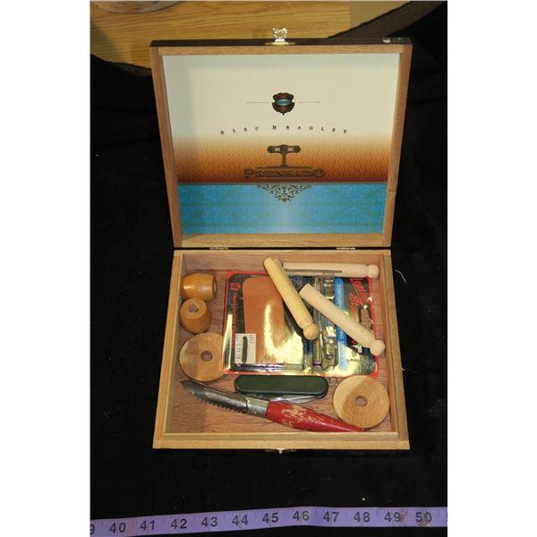 Wooden Cigar Box & Contents