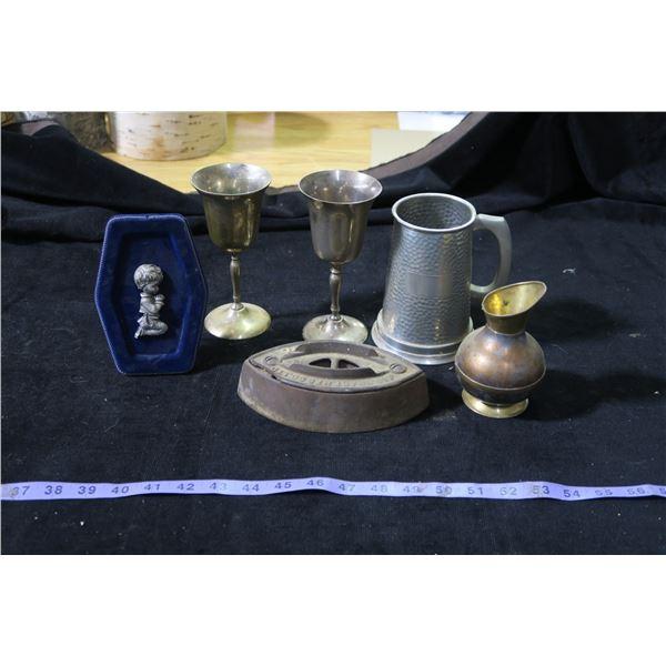 Misc. Metal items: Chalices, Stein, Vintage Iron Bottom etc.