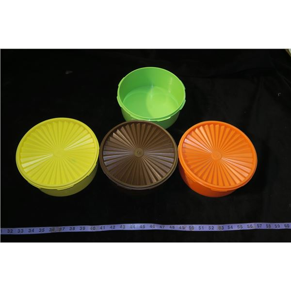 4 Vintage Tupperware Stacking Sevalier Canisters, 3 with lids