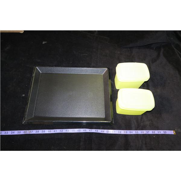 "Vintage Tupperware Black Serving Tray 12""×15"" & 2 Yellow Shelf Savers"