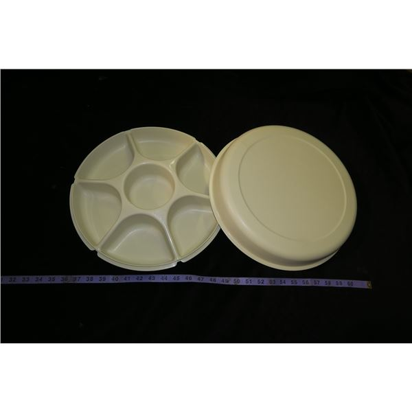 Vintage Tupperware Divided Chip & Dip Serving Tray w/ Lid