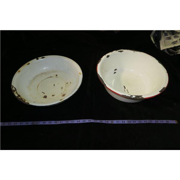 2 Vintage Enamel Pans: Dish Pan + Wash Basin