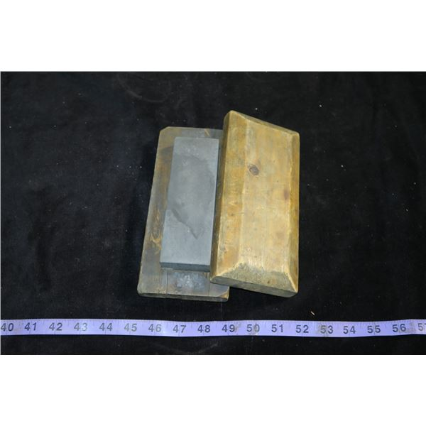 Vintage Sharpening Stone With Wood Case