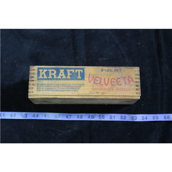 Vintage Kraft Velveeta Cheese Wood Box