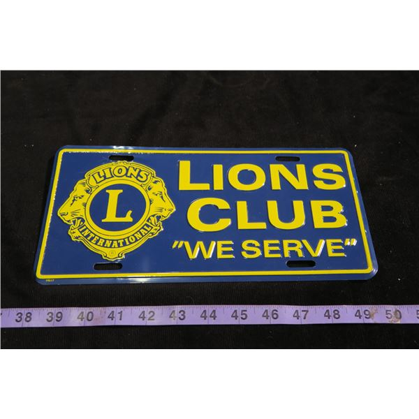 Lions Club Licence Plate