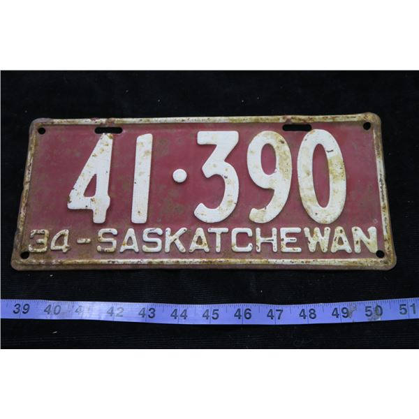 1934 Saskatchwan Plate