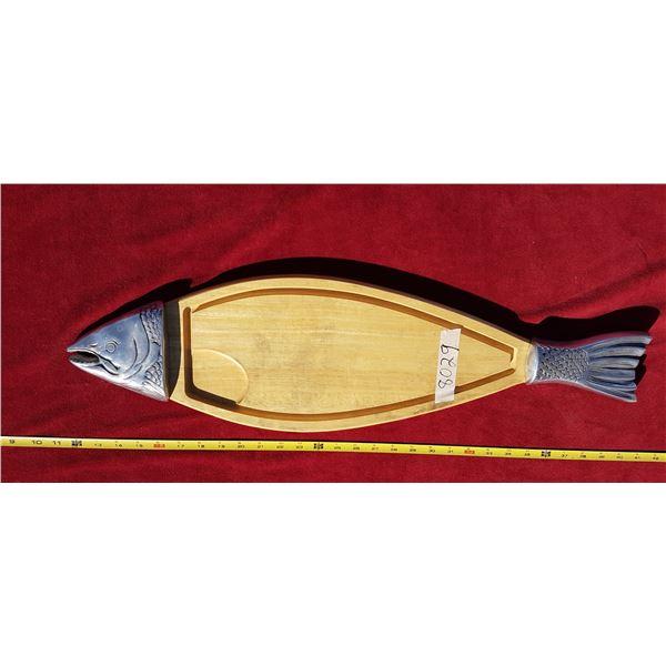 Wood & Metal Fish Cutting Board