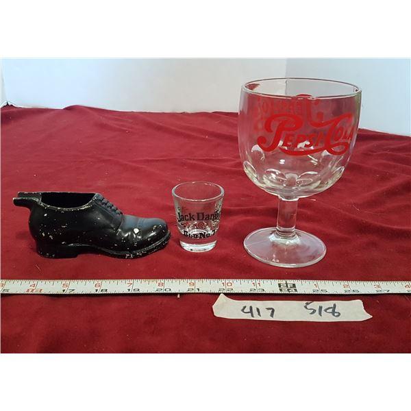Pepsi Goblet & Shot Glass & Shoe Figurine