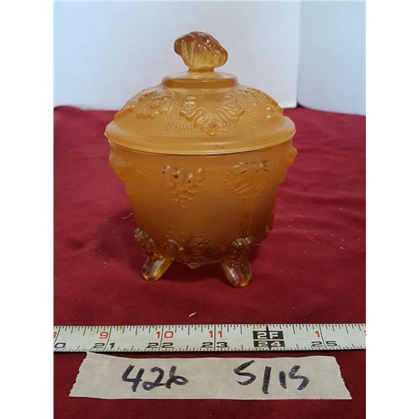 Footed Carnival Glass Bowl With Lid